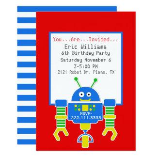 Boys Robot Birthday Party Invitation