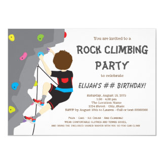 Boys Rock Climbing Birthday Party Card