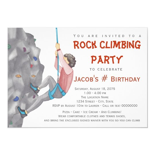 Boys Rock Climbing Birthday Party Invitations