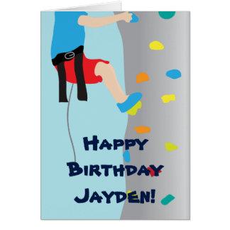 Boy's Rock Wall Climbing Birthday Party Greeting Card