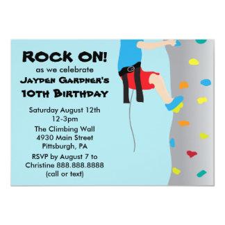 Boy's Rock Wall Climbing Birthday Party 11 Cm X 16 Cm Invitation Card