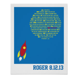 Boys Rocket Alphabet for Boys Room &  Baby Showers Poster