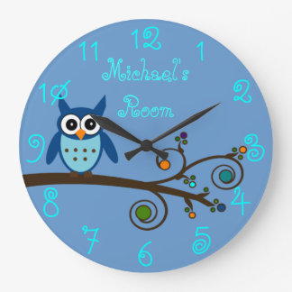 Boy's Room Cute Owl Large Clock