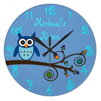 Boy's Room Cute Owl Large Clock