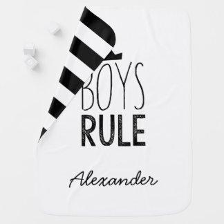 Boys Rule Custom Name Blanket -Black White Nursery Baby Blankets