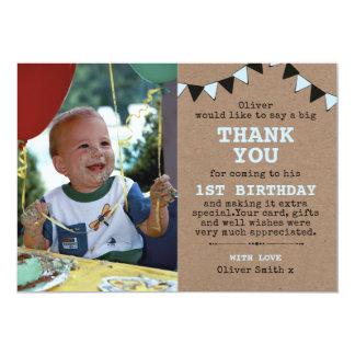 Boys rustic birthday thank you card