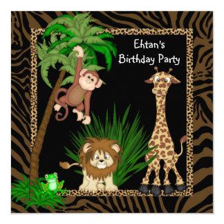 Boys Safari Birthday Party Card