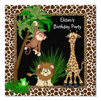 Boys Safari Birthday Party Card