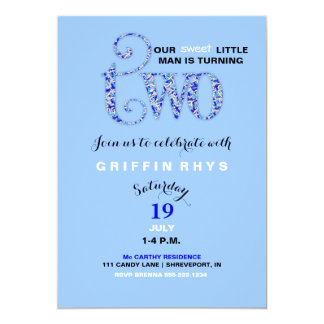 Boy's Second Birthday Blue & White Sprinkles 13 Cm X 18 Cm Invitation Card