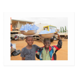 Boys selling sachets of water in Ghana Postcard