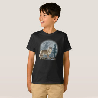 Boy's shirt design of wolf and moon.