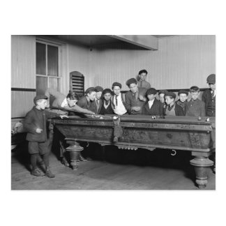 Boys Shooting Pool, 1909 Postcard