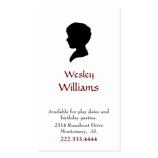 Boy's Silhouette Portrait Play Date Card Pack Of Standard Business Cards