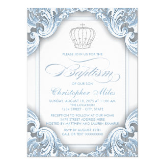 Boys Silver Blue Prince Baptism 17 Cm X 22 Cm Invitation Card