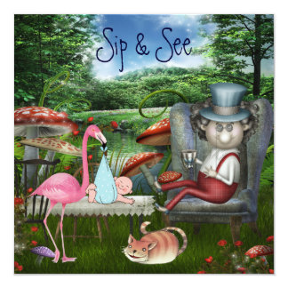 Boy's Sip & See Mad Hatter's Tea Party Baby Shower 13 Cm X 13 Cm Square Invitation Card
