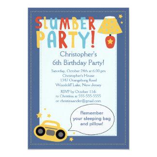 BOYS Sleepover Birthday Party Inviation 13 Cm X 18 Cm Invitation Card