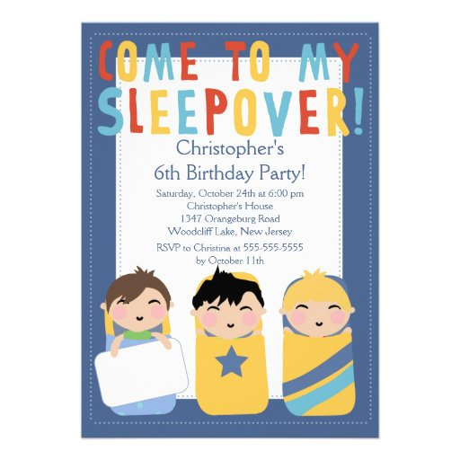 BOYS Sleepover Birthday Party Inviation Invite