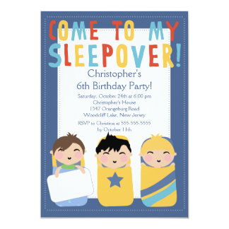 "BOYS Sleepover Birthday Party Inviation 5"" X 7"" Invitation Card"
