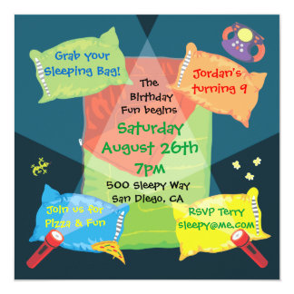 Boy's Sleepover Birthday Party Invitation