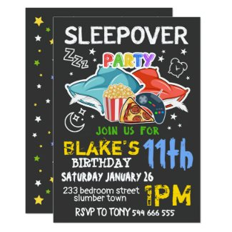 Boys Sleepover Invitation - SLEEPOVER BIRTHDAY