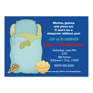 Boys Sleepover Slumber Party Birthday Invitation