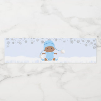 Boys Snowflake Baby Shower Water Bottle Labels
