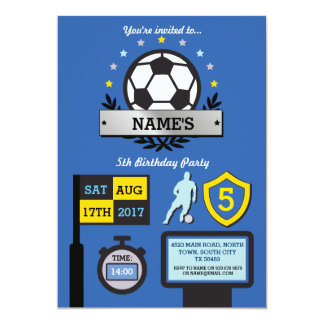 Boy's Soccer Party Birthday Sports Blue Invite
