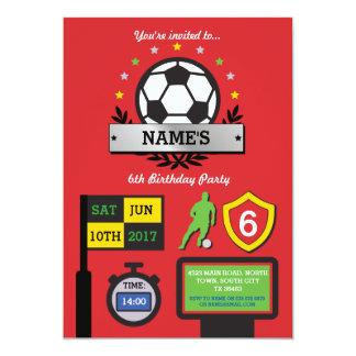 Boy's Soccer Party Birthday Sports Red Invite