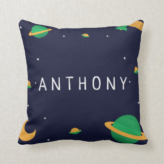 Boys Space Name and Custom Quote Kids Pillow