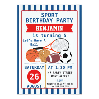 Boys Sports Birthday Party Invitation