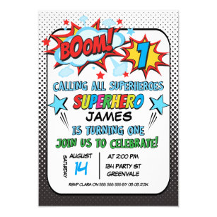 superhero birthday invitations zazzle uk