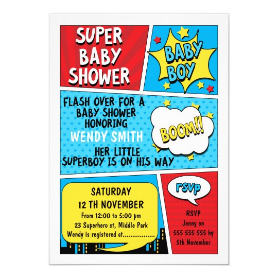 Boys Superhero Baby Shower Invitation