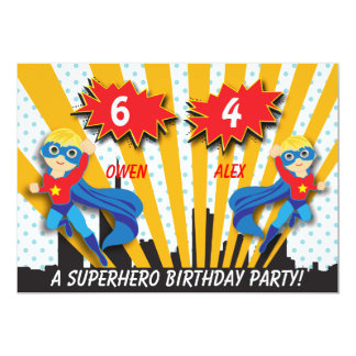 Boys Superhero Birthday 13 Cm X 18 Cm Invitation Card