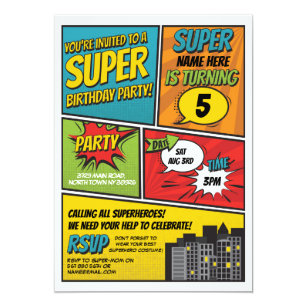 superhero invitations announcements zazzle uk