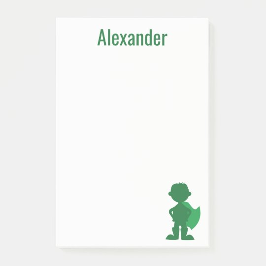 Boys Superhero Personalised Green Silhouette Post-it Notes