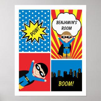 Boys Superhero Personalized Poster