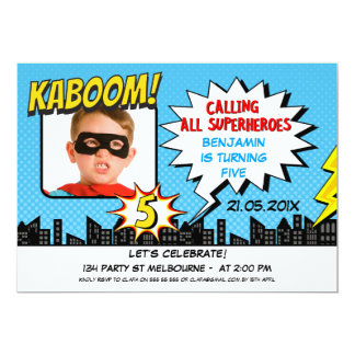 Boys Superhero Photo 5th Birthday Invitation