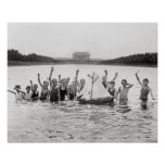 Boys Swimming, 1926. Vintage Photo Poster