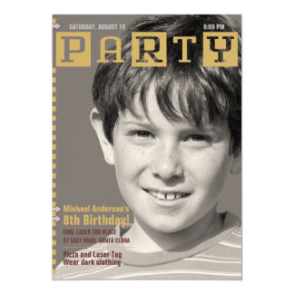Boys Tech Magazine Photo Birthday Party Personalized Announcements