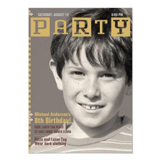 Boys Tech Magazine Photo Birthday Party 5x7 Paper Invitation Card