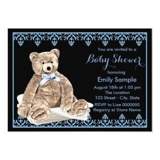 Boys Teddy Bear Baby Shower 13 Cm X 18 Cm Invitation Card