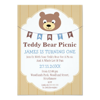 Boys Teddy Bear Picnic 1st Birthday Invitation