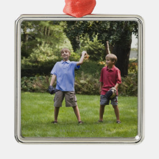 Boys throwing baseball Silver-Colored square decoration