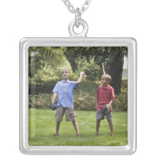 Boys throwing baseball silver plated necklace