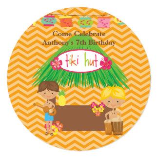 Boys Tiki Hut Round Luau Birthday Invitation