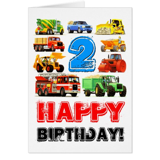 Boy's Toy Truck Happy 2nd Birthday Card