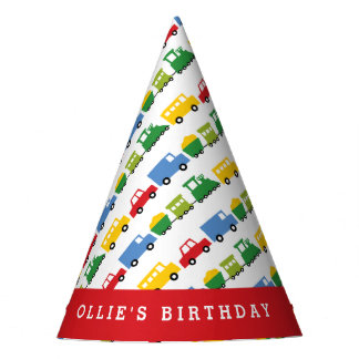 Boys Toys Car Train Transport Birthday Party Hat