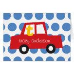 Boy's Toys Fun Cute Red Car Thank You Note Card