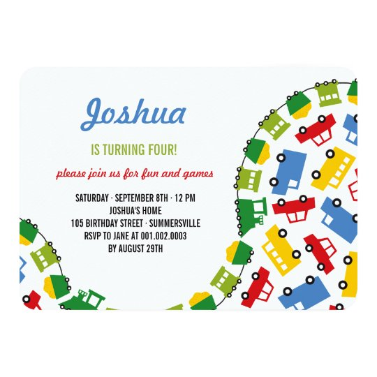Boys Toys Fun Transport Photo 4th Birthday Party Invitation