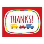 Boys Toys Kid's Birthday Party Thank You Note Card